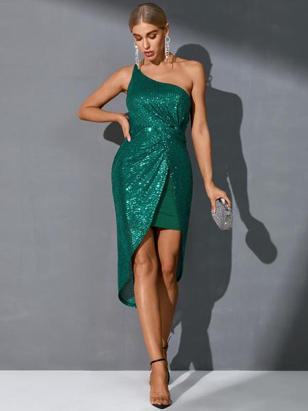 YOINS Green One shoulder Sequins embellished Sleeveless Dress
