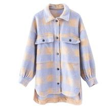 Tweed Mantel mit Taschen Klappe, Karo Muster und Stufensaum