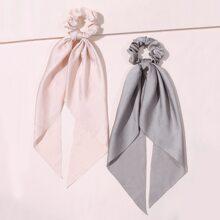 2pcs Simple Solid Scrunchie Scarf