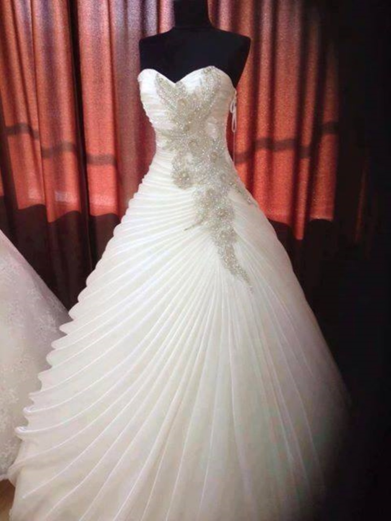 Ericdress Appliques Beading Draped Ball Gown Wedding Dress