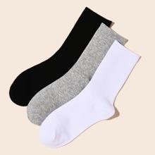 3pairs Men Solid Socks