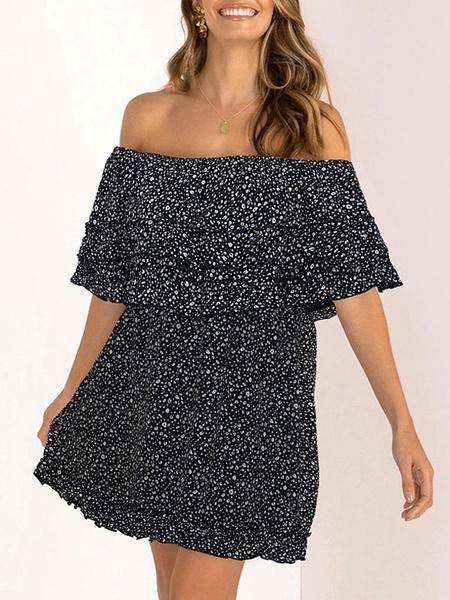 Milanoo Vestido de verano con hombros descubiertos Vestido de playa con estampado floral Ditsy