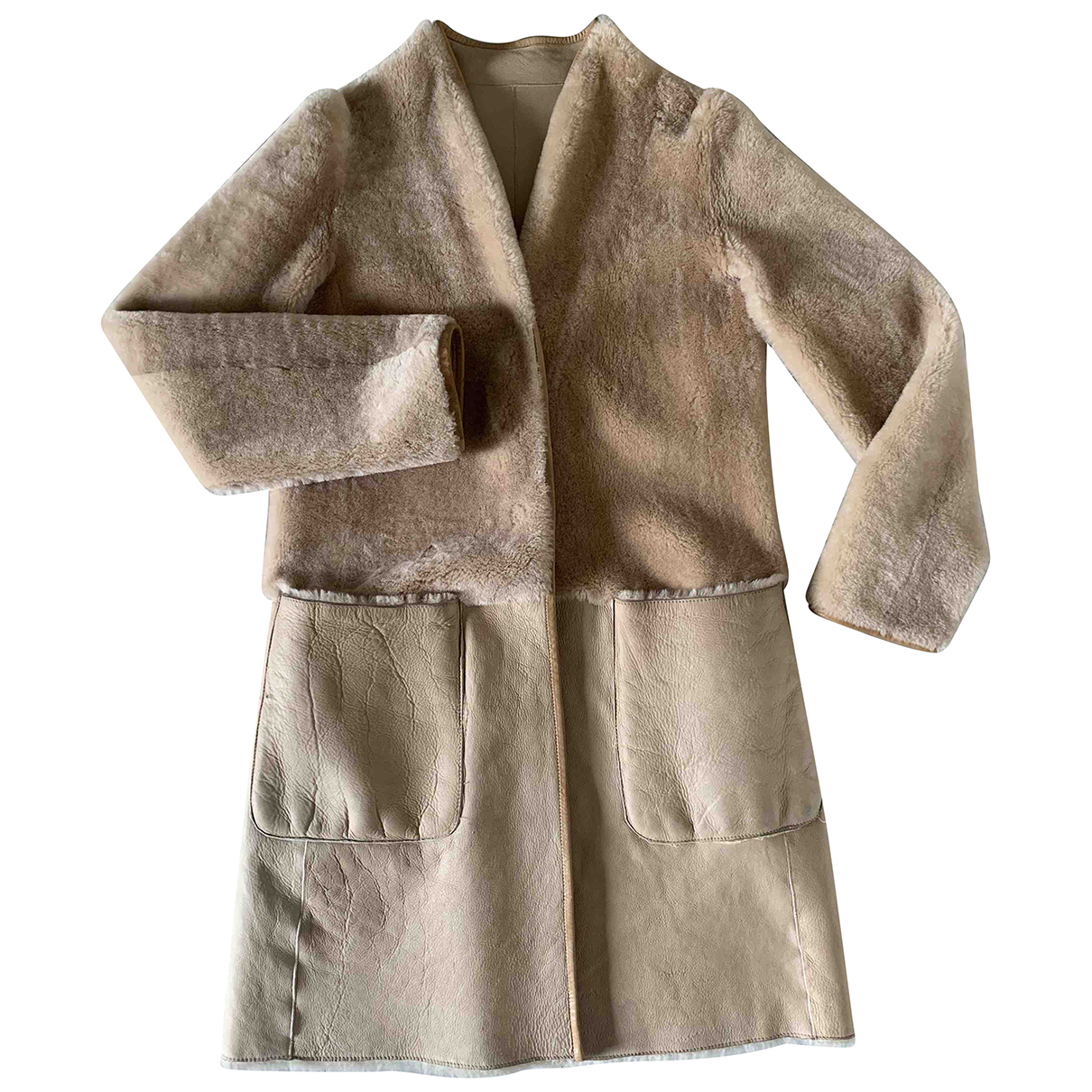 Emporio Armani N Beige Shearling Leather jacket for Women 44 IT