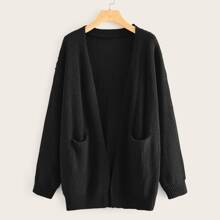 Ribbed Knit Drop Shoulder Dual Pockets Cardigan