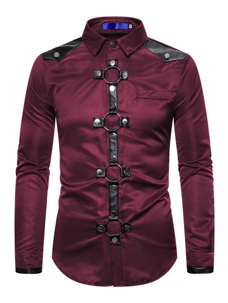 Ericdress Casual Lapel Color Block Single-Breasted Men's Shirt