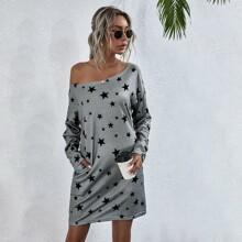 Star Print Tee Dress
