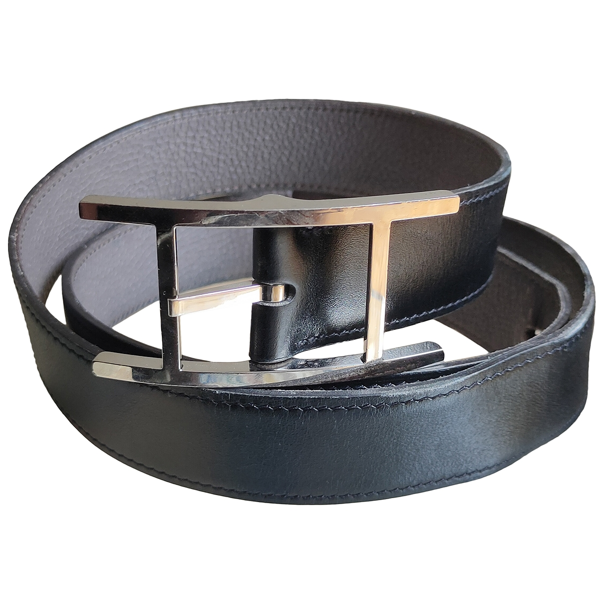 Hermès Quentin Black Leather belt for Men 90 cm