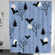 Halloween Bat Print Shower Curtain