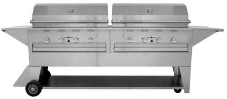 LM210-40/40MN Masterpiece Series Natural Gas Mobile Freestanding Grill with 96 000 BTU  8 Durite Stainless Steel Burners and 115 Volt