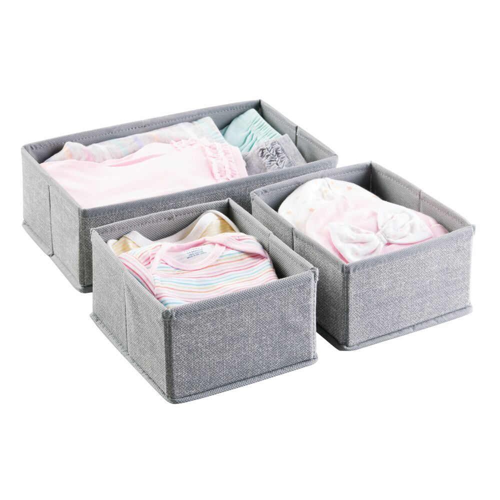 Baby + Kids Fabric Drawer Storage Organizers in Gray, Set of 3, by mDesign