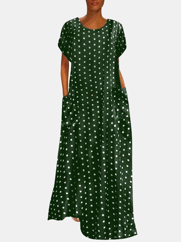 Polka Dot Pockets Short Sleeve Casual Maxi Dress For Women