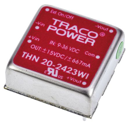 TRACOPOWER THN 20WI 20W Isolated DC-DC Converter Through Hole, Voltage in 9 → 36 V dc, Voltage out ±15V dc