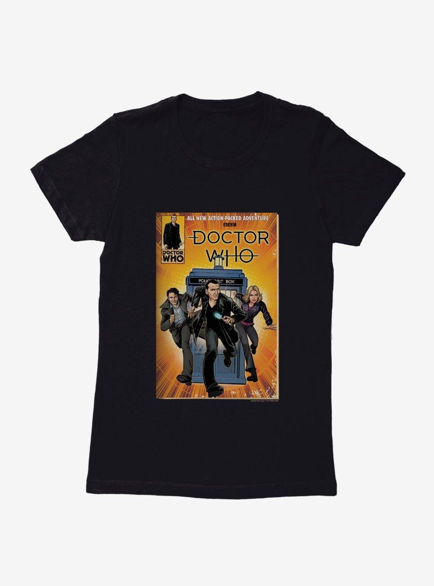 Doctor Who Action Packed Adventure Comic Womens T-Shirt