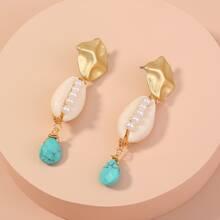 Faux Pearl Decor Shell Drop Earrings