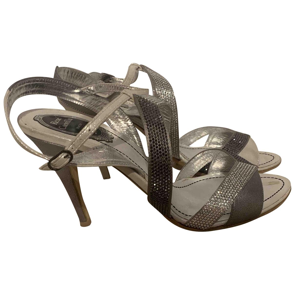 Rene Caovilla \N Silver Glitter Sandals for Women 39 IT