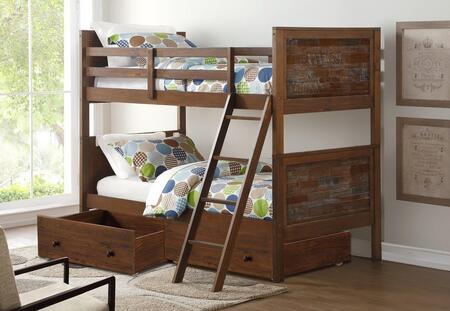 9010-TTBG_505-BGL Twin/Twin Artesian Bunk Bed With Dual Underbed Drawers in Brown Glaze