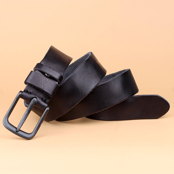 125CM Men Casual Genuine Leather Belt Alloy Needle Buckle Trousers Waistband