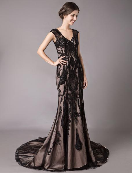 Milanoo Black Wedding Dresses Mermaid V Neck Lace Sleeveless Chapel Train Formal Evening Gowns