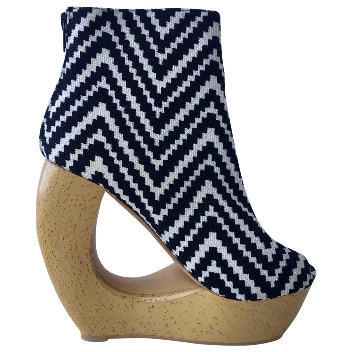 - Boots   pour femme en toile - blanc