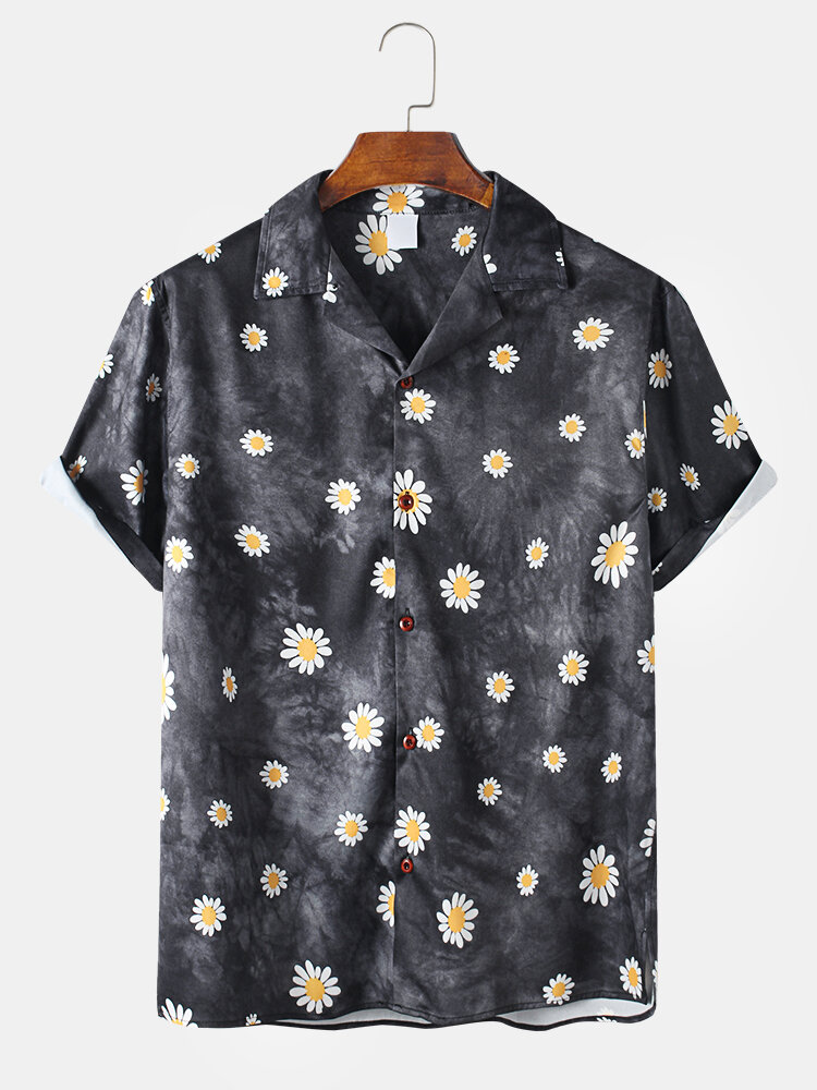 Daisy Spray Printed Tie-Dyed Gradient Color Holiday Short Sleeve Shirt