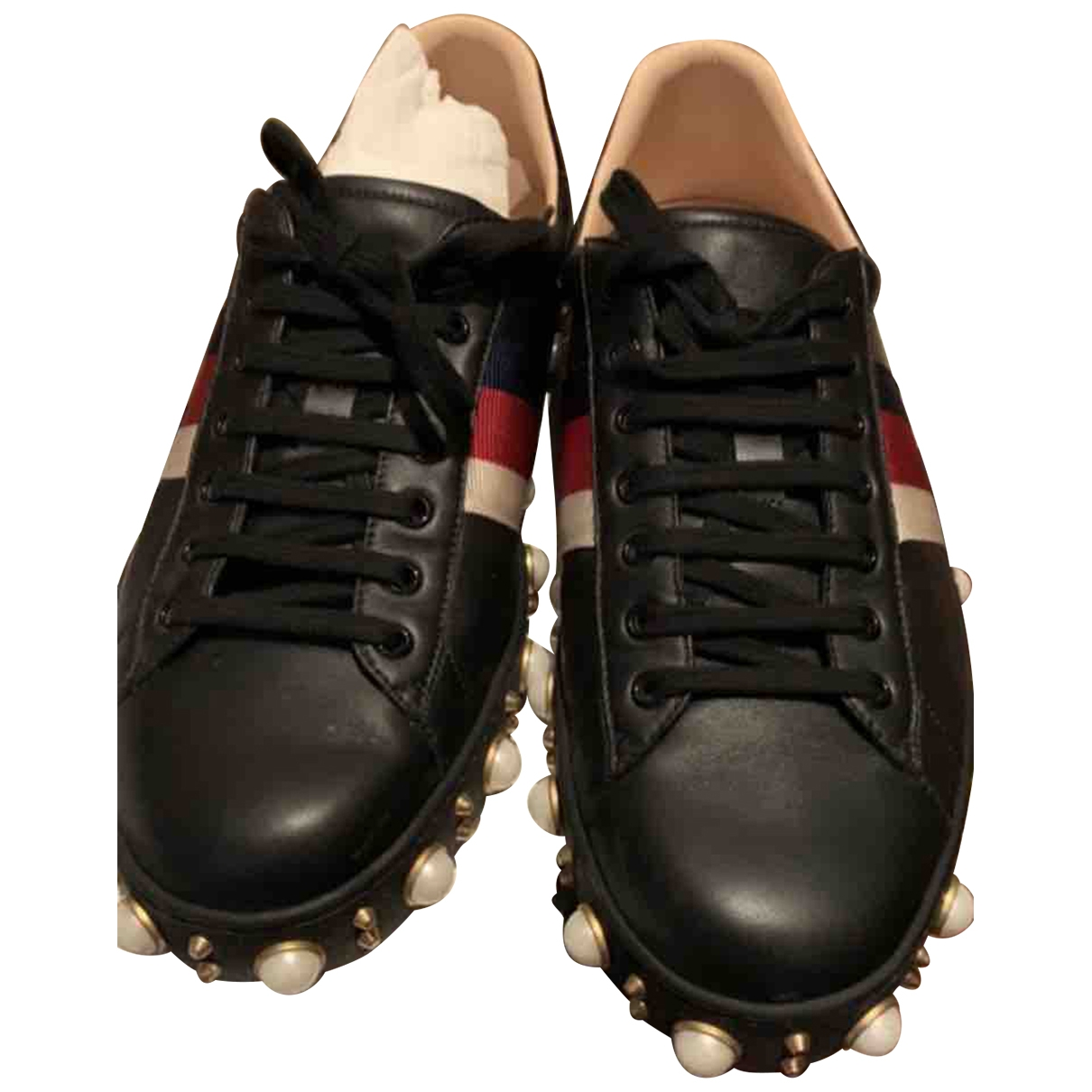 Gucci Ace Black Leather Trainers for Men 44 EU
