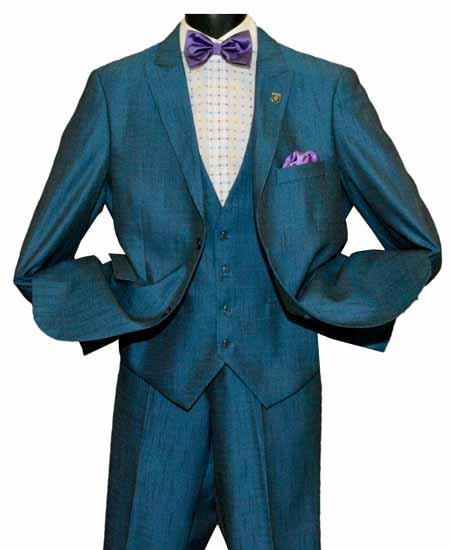 Sky Blue Men's Peak Lapel 2 Button Single Breasted Vested Vent Suit