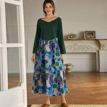 Kleid mit Farbblock und Blumen Muster