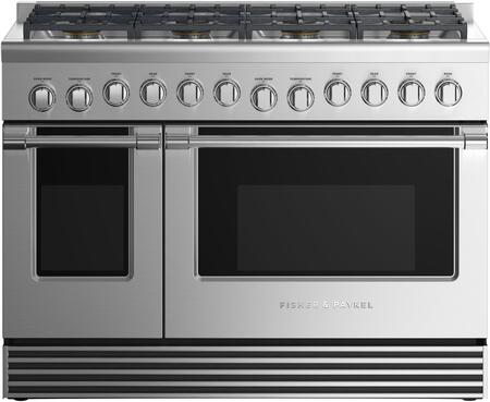 RGV2488LN 48 Professional Series Freestanding Liquid Propane Gas Range with 8 Burners  2 Ovens  and Sealed Dual Flow Burners  in Stainless