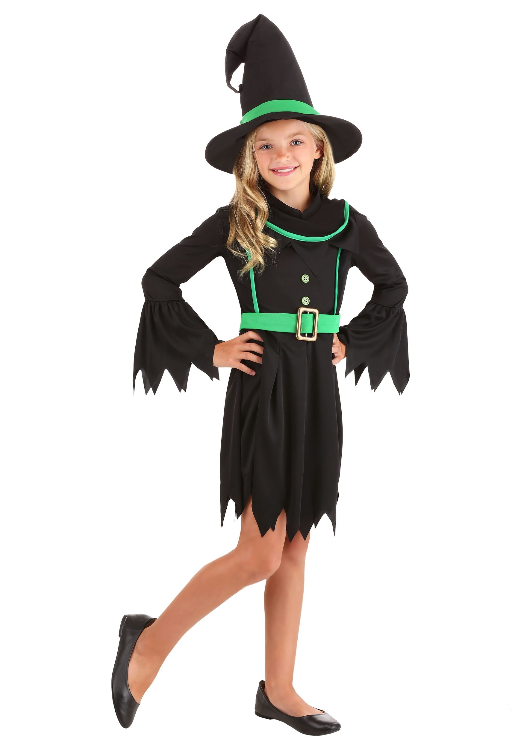 Emerald Witch Costume for Girls