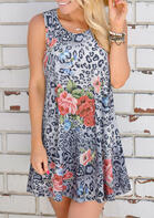 Floral Leopard Splicing Sleeveless Mini Dress without Necklace