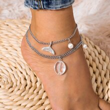 Faux Pearl Decor Layered Anklet