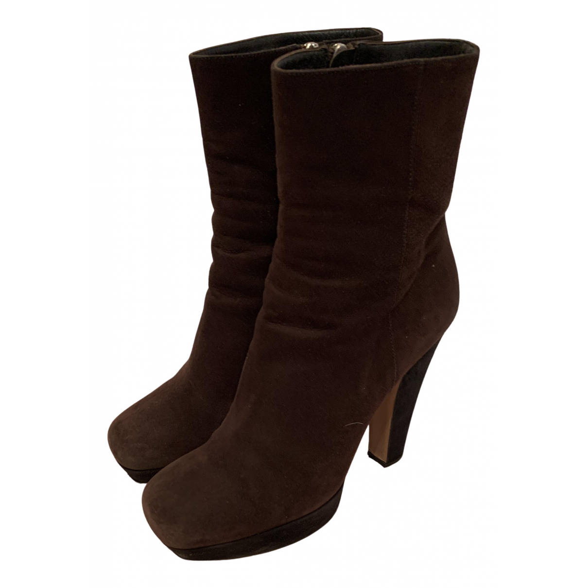 Prada N Brown Suede Ankle boots for Women 40 IT