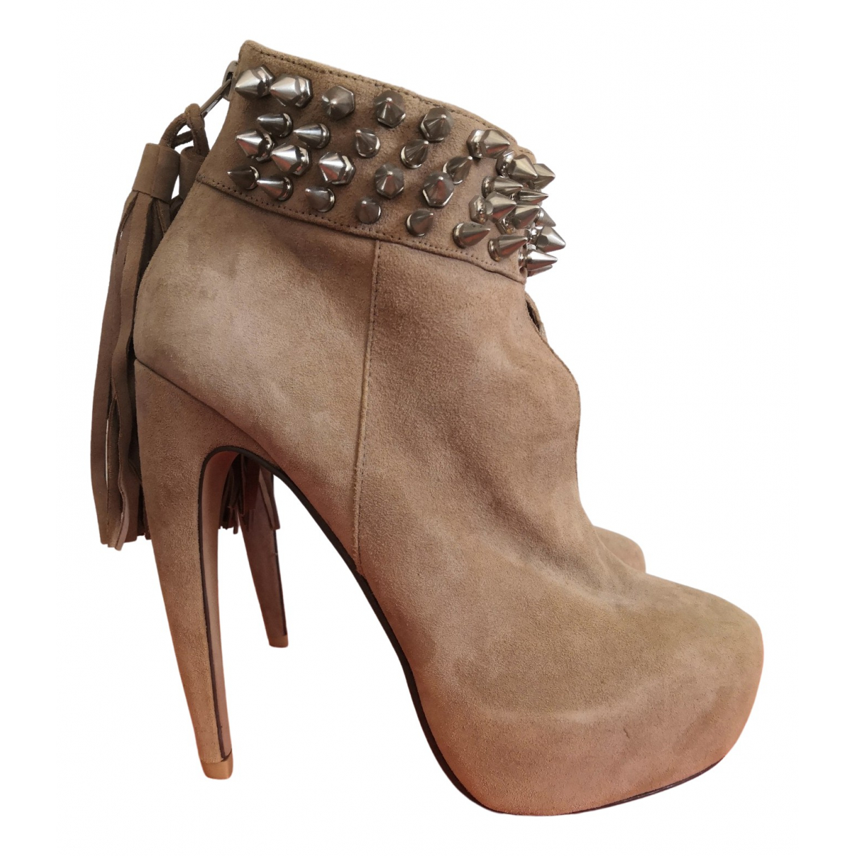 Jeffrey Campbell N Beige Suede Heels for Women 39 EU
