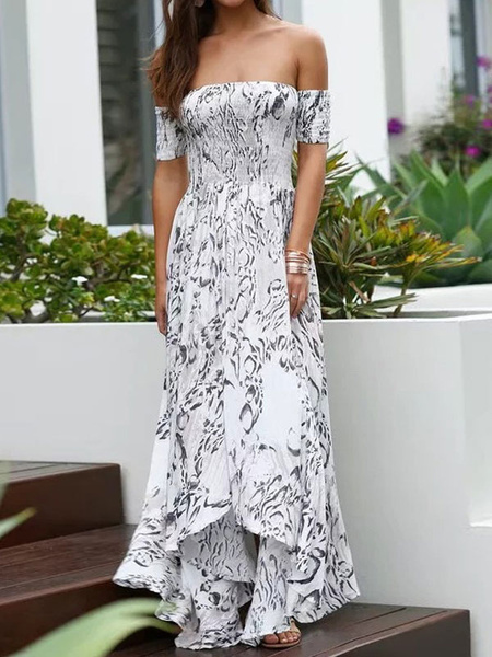 Milanoo Vestido largo blanco  Moda Mujer con estampado de flores con manga corta Vestidos de algodon Irregular con escote de hombros caidos Verano
