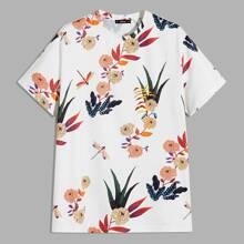 Maenner T-Shirt mit Blumen Muster