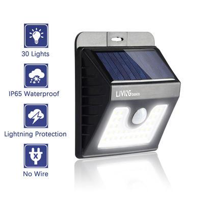 Solar Motion Sensor Light 30-LED PIR 200LM Waterproof Wireless Bright Light - LIVINGbasics™