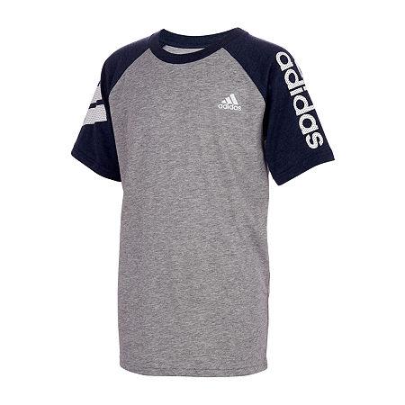 adidas Little Boys Elbow Sleeve T-Shirt, 6 , Gray