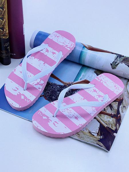 Milanoo Sandal Slippers Rose PU Leather Printed Chic Sandal Beach Flip Flops