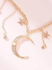 Star & Moon Tassel Decor Statement Necklace 1pc