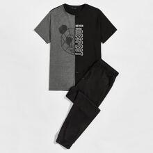 T-Shirt mit Buchstaben Grafik und Farbblock & Jogginghose Set
