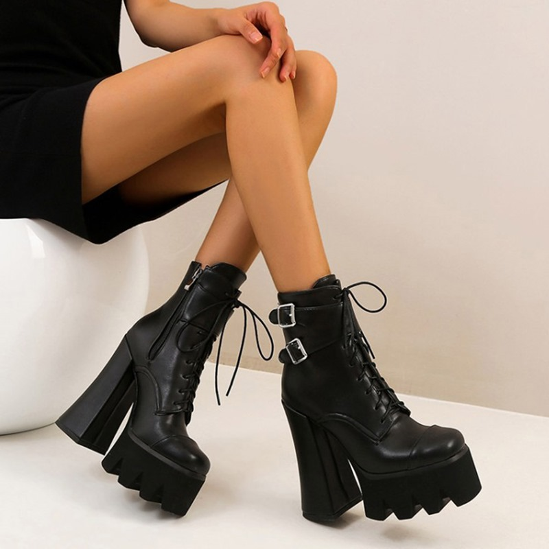 Ericdress Round Toe Side Zipper Plain Lace-Up Boots