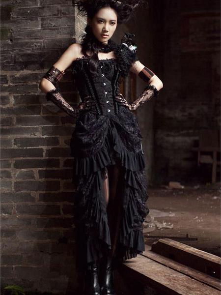 Milanoo Disfraz Halloween Traje Negro Gotico Volantes Encaje Alta Baja Vestido Retro De Algodon Para Mujeres Halloween Carnaval Halloween