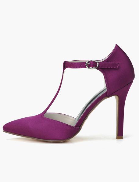 Milanoo Zapatos de novia de saten Zapatos de Fiesta de tacon de stiletto Zapatos blanco  Zapatos de boda de puntera puntiaguada 10cm