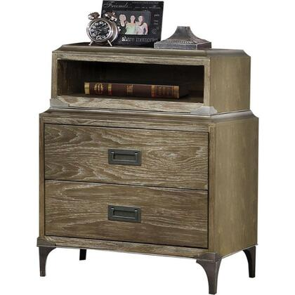 BM185676 Transitional Style Wood and Metal Nightstand with 2 Drawers  Oak
