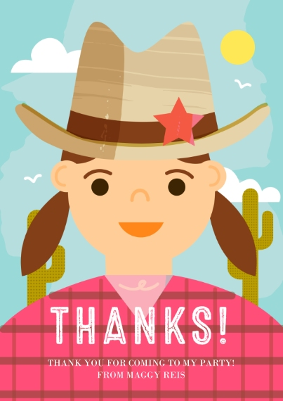 Kids Thank You Cards 5x7 Cards, Premium Cardstock 120lb with Elegant Corners, Card & Stationery -Howdy Celebration Thank You