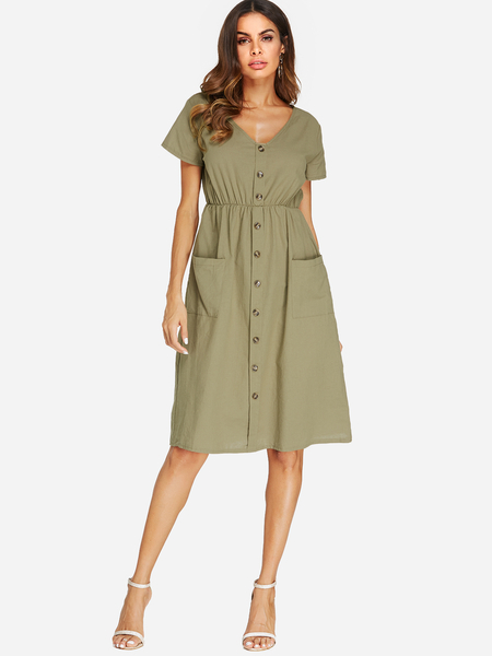 Yoins Army Green V-neck Short Sleeves Stretch Waistband Dress with Side Pockets