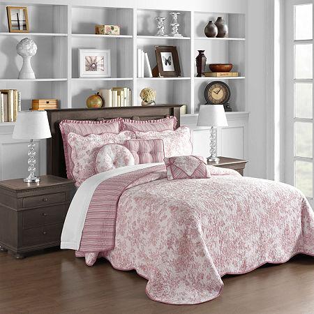 Toile Garden Bedspread, One Size , Pink