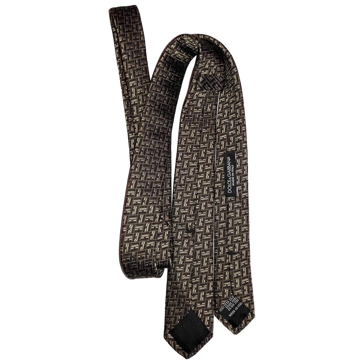 Dolce & Gabbana - Cravates   pour homme en soie - marron
