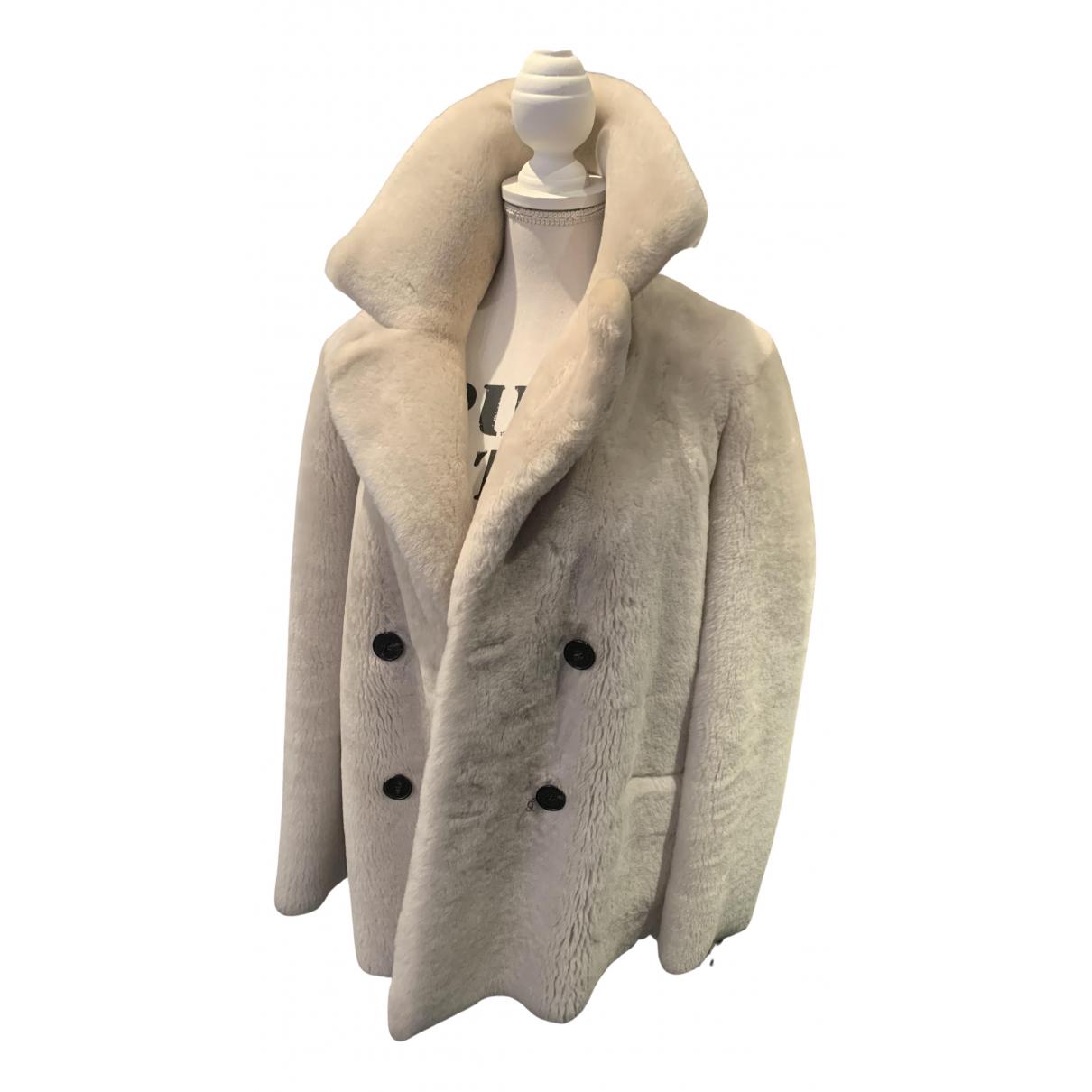 Massimo Dutti - Manteau   pour femme en mouton - ecru
