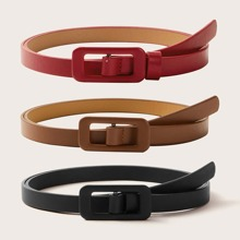 3pcs Solid PU Buckle Belt